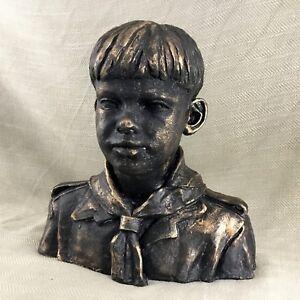 Studio Ceramiche Scultura Firmato Busto di Una Bambino Boy Marinaio Vintage Art