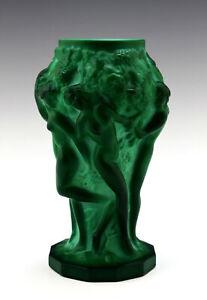 Art Deco Malachite Jade Art Glass Nude Ladies Vase 1930' H.Hoffmann