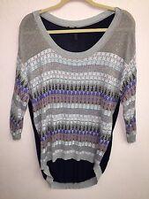 LN Guess Los Angeles LA Sweater Top Hi Lo Large L Abstract Print Thin 3/4 Slv