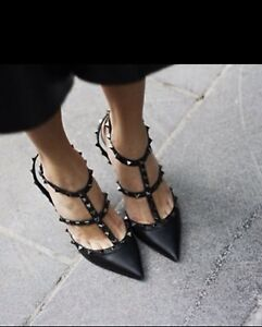 Valentino New With Box Black ROCKSTUD  Lacquer STRAP PUMP 100 MM Size 39 6 Uk