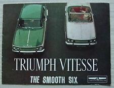 TRIUMPH VITESSE Saloon & Convertible Car Sales Brochure 1962-63 #350/562/UK