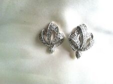 Jomaz Crystal Rhinestone Looped Crown Design Craftsman Marked Clip Earrings