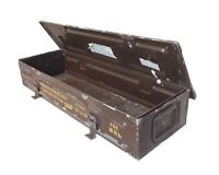 Ammo Box Large Brown British Army Metal Tin Surplus Storage L85 x D27 X H15 CM