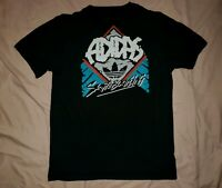 "Men's (M) Adidas Black Multi-Color Back Print ""Skate Boarding"" Shirt"