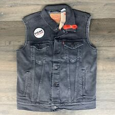 Levi's Pride Collection Fight Stigma Men-S Denim Trucker Vest Gray Black LGBT