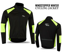 Mens Cycling Windstopper Winter Jacket Thermal Fleece Windproof Coat - Black