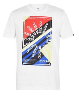 Adidas Men's Slogan Graphic Tee S, M, L, XL, 2XL Crewneck (White Multi Color)