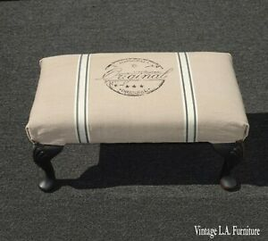 Vintage French Country Shabby Chic White Footstool w Original 'Stamped Stencil'