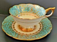 Royal Stafford Teacup And Saucer Cobalt Blue w/ Gold Overlay Floral 8473