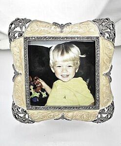 Art Deco Picture Frame Bejeweled w Swarovski Crystals Pretty Photo Frame White