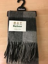 New Barbour Lambswool scarf Charcoal grey Check Scarf 87436