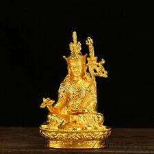 BLESSED TIBETAN BUDDHA GOLD GILT STATUE / GIFT BOX MASTER RINPOCHE PADMASAMBHAVA