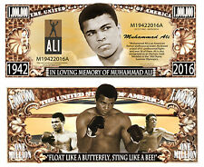 Memory of Muhammad Ali Million Gold Dollar Collectible Funny Money Novelty Note