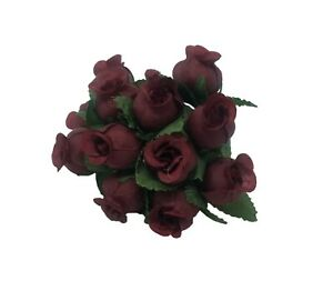 """Lot 144 pcs Burgundy Artificial Rosebuds Roses Millinery Craft Flowers 16mm 5/8"""""""