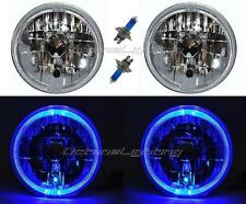 "55 56 57 Chevy Halogen Blue LED Halo Headlight Headlamp H4 Light Bulbs 7"" Pair"