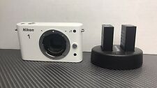 White Nikon 1 J1 10MP Digital Camera Body Only + 2 Batteries *Read