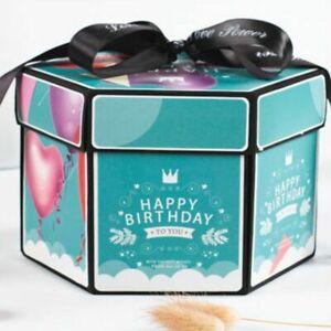 Fashion Hexagon Explosion Surprise Storage Box DIY Scrapbook Photo Album New