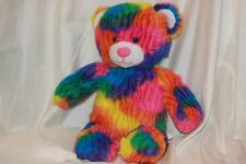 "Build a Bear Pastel Rainbow Striped Teddy Bear 16"" Plush"