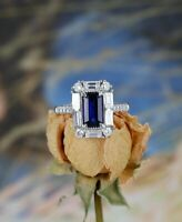 2Ct Emerald Cut Blue Sapphire Diamond Halo Engagement Ring 14K White Gold Finish