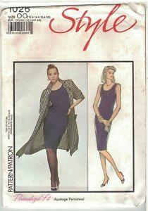 Style 1026 Scoop Neck Sheath Dress & Unlined Topper Pattern Size 12 14 16 18 UC
