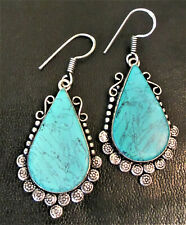 Elegant Western Turquoise Drop Earrings~925 Sterling~DIVA~15 grams~Beautiful!