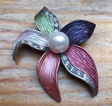 Vintage Enamel Flower Brooch/Green/Pink/Purple/Silver Tone/Pin/Pearl Bead/Shawl