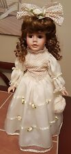 "Porcelain Doll 17"" The Collectors Choice series by DanDee With Stand White Dress"