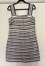 French Connection Ric Rac Ribbon Trim Dress Cream & Navy Lined Size 14 Wedding