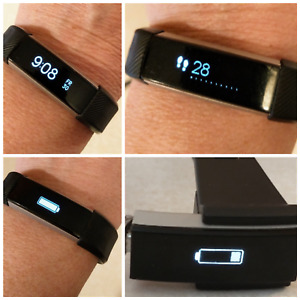 BLACK FITBIT ALTA FITNESS TRACKER - FB406 - WORKS GREAT! w/3 BANDS & CHARGER