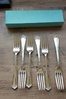 Vintage Box Six EPNS Silver Plated Jesmond Pattern Dinner Table Forks