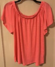 Gap neon pink linen blend off the shoulder swing top Size Large bunched CUTE
