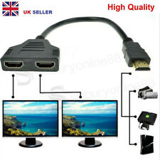UK 1080P HDMI Port 1 Male to 2 Female Out Splitter Adapter Cable Converter HD TV