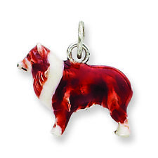 .925 Sterling Silver Enameled Small Collie Dog Charm Pendant Msrp $269