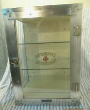 Vintage E. Paidar Barber Shop 20 Inch Tall Sterilizer Cabinet Nickle over Brass