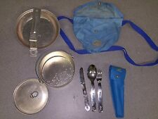 Vintage Girl Scouts aluminum mess & Utensil kit with Blue carry bag.
