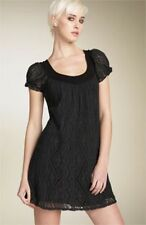 ELLA MOSS BLACK CORSICA LACE DRESS SHIFT PUFF SLEEVE MINI S $162