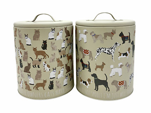 Pet Food Dog Cat Print Tin Metal Storage Container Canister Biscuit Treat Jar