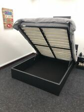 Boston Black 4ft6 Double Deep Ottoman Leather Storage Gas Lift up Bed Strong
