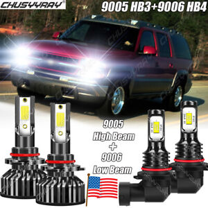 For Chevy K1500 2500 Suburban 1993-1999 6000K Hi/Lo Beam LED Headlight Bulbs Kit