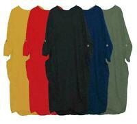 New Women's Italian LAGENLOOK Balloon Baggy Dress Turn Up Sleeve Pocket Tunic UK