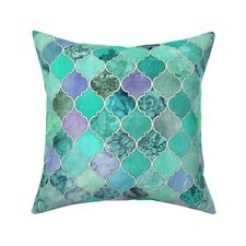 Moroccan Mint Green Ogee Throw Pillow Cover w Optional Insert by Roostery