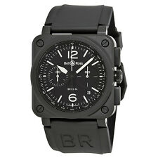 Bell and Ross Aviation Black Dial Chronograph Automatic Mens Watch BR0394-BL-CE