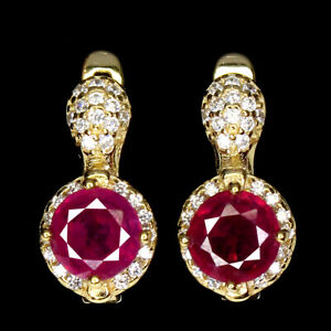 Round Red Ruby 6mm Cz 14K Yellow Gold Plate 925 Sterling Silver Earrings