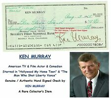 KEN MURRAY  COMEDIAN TV STAR ACTOR HAND SIGNED EARLY BANK CHEQUE 1968  RARE ITEM