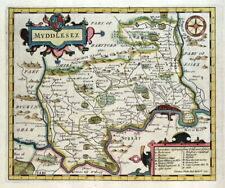 MIDDLESEX, LONDON, John Senex hand coloured original antique county map 1723