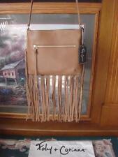 NWT~FOLEY + CORINNA ~SASCHA CHESTNUT BROWN CROSSBODY BAG W/FRINGE TRIM ~ $198