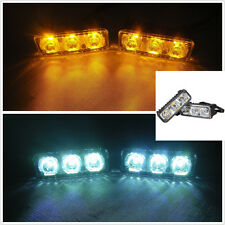 NEW 2x6 LED High Power Car White DRL & Amber Turn Signal Daytime Running Light