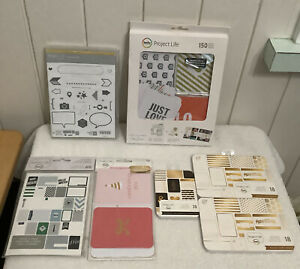 Lot of 6 Becky Higgins Project Life Card Sets & Stampin'Up Point&Click Stamp Set