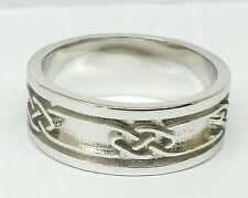 MK02 Genuine Solid 9ct White GOLD Keltic Celtic Thick Wedding Band Ring size X