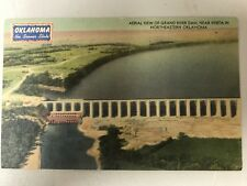 USED POSTCARD OKLAHOMA GRAND RIVER DAM w CANCELLED 1c STAMP 1947 MWM COLOR LITHO